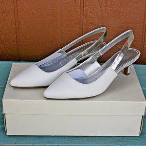 Anne Klein Aileen Leather Pumps Heels White NEW